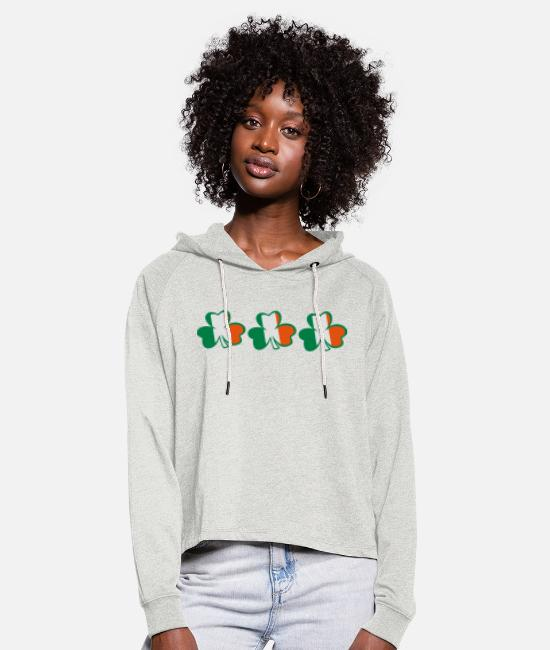 Best Awesome Superb Cool Amazing Identity Ethnicity Race People Language Country Design Hoodies & Sweatshirts - ♥ټ☘Kiss the Irish Shamrocks to Get Lucky☘ټ♥ - Women's Cropped Hoodie heather oatmeal