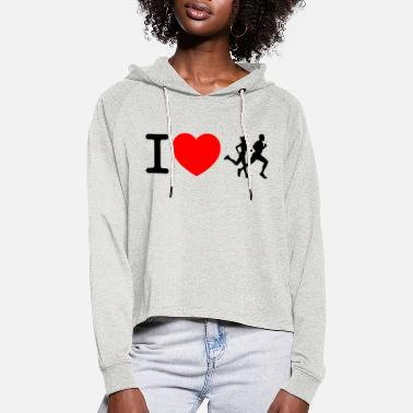 Sprinten I love racing - jogging - Women's Cropped Hoodie
