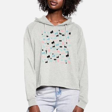 Soft Cats pattern - Women's Cropped Hoodie