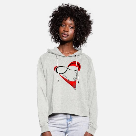 Valentine's Day Hoodies & Sweatshirts - Love and family valentines day gift - Women's Cropped Hoodie heather oatmeal