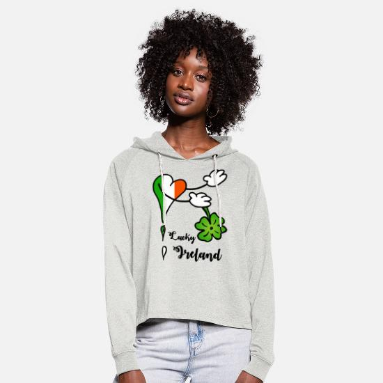 Heartily Hoodies & Sweatshirts - Heart Lucky Ireland shamrock - Women's Cropped Hoodie heather oatmeal