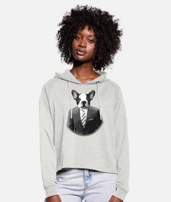 Animal Hoodies & Sweatshirts - President Puppy - Women's Cropped Hoodie heather oatmeal