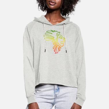 Afrocentricity African Map African Lion Red Gold Green Outline - Women's Cropped Hoodie