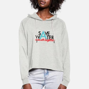 Funny Cat Please save water, it is important - Women's Cropped Hoodie