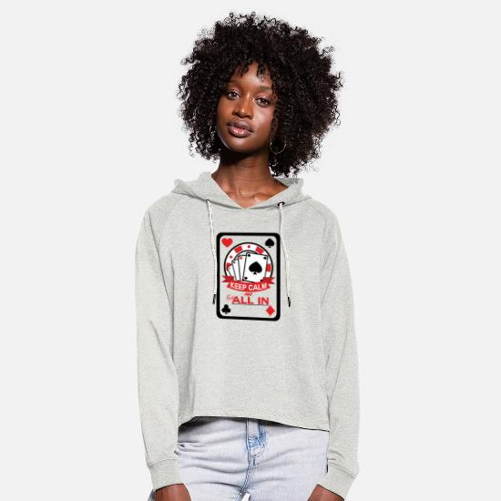 Play Poker Hoodies & Sweatshirts - Poker All in it is your pot - Women's Cropped Hoodie heather oatmeal