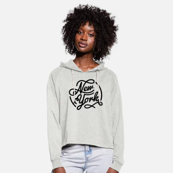 York Sweat-shirts - New York, Vintage style lettrage noir - Sweat à capuche court Femme beige chiné