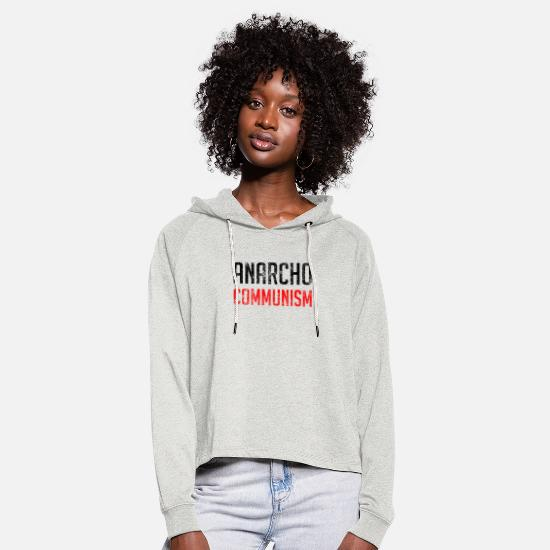 Anarchiste Sweat-shirts - Anarcho Communisme - Sweat à capuche court Femme beige chiné