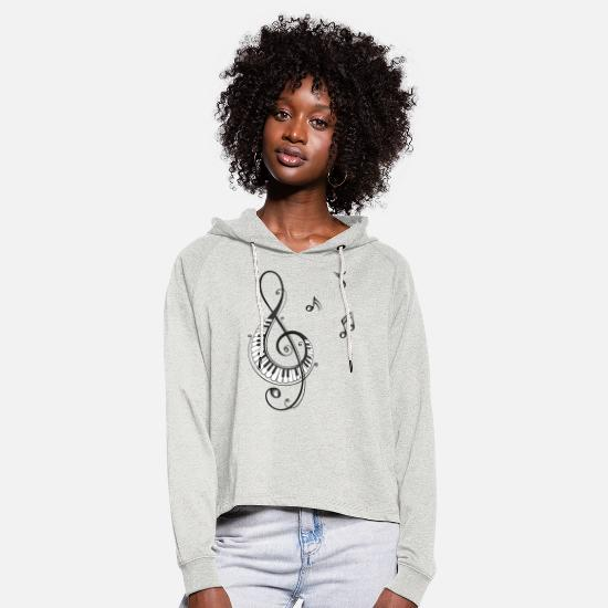 Music Hoodies & Sweatshirts - Clef with piano and music notes, i love music. - Women's Cropped Hoodie heather oatmeal