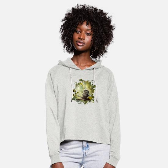 Bestsellers Q4 2018 Hoodies & Sweatshirts - Little Owl - Women's Cropped Hoodie heather oatmeal