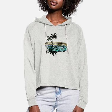 Palm trees, reflection, sea - Women's Cropped Hoodie