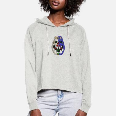 Lucky Blue Ork Candy Skull - Cropped hoodie til damer
