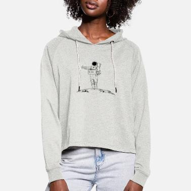 Astronaut hitchhiking across the galaxy - Women's Cropped Hoodie