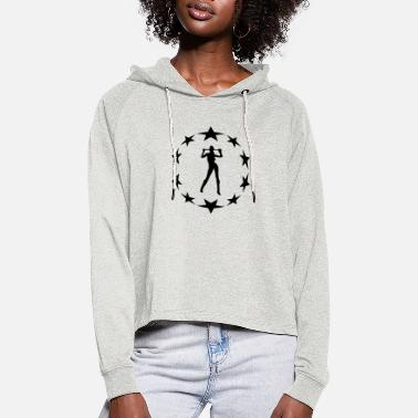 Circle Underwear stars wreath special - Women's Cropped Hoodie