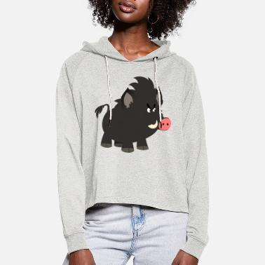 Grumpy Cartoon Wild Boar by Cheerful Madness!! - Women's Cropped Hoodie