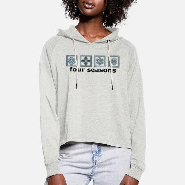 Pictograph The 4 winter times - Women's Cropped Hoodie