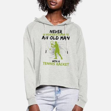 Stick Man Never underestimate an old man with tennis - Women's Cropped Hoodie