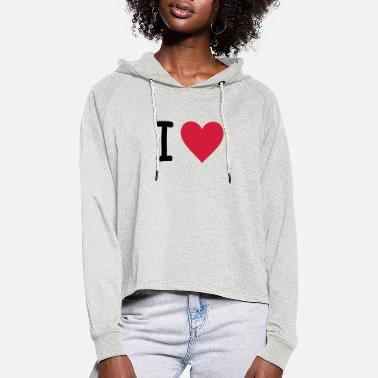 I Love I Love - Sweat à capuche court Femme