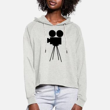 Camera, objective, photo, film, Movie, Cinema, - Women's Cropped Hoodie