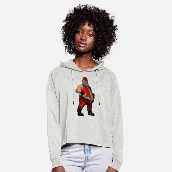 Christmas Hoodies & Sweatshirts - Bad Santa - Women's Cropped Hoodie heather oatmeal