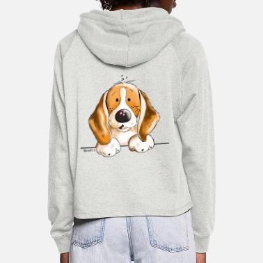 Dog Caricature Sweet Beagle - Women's Cropped Hoodie