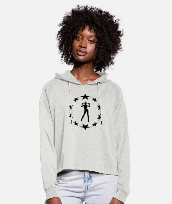 Strip Hoodies & Sweatshirts - stars wreath special - Women's Cropped Hoodie heather oatmeal