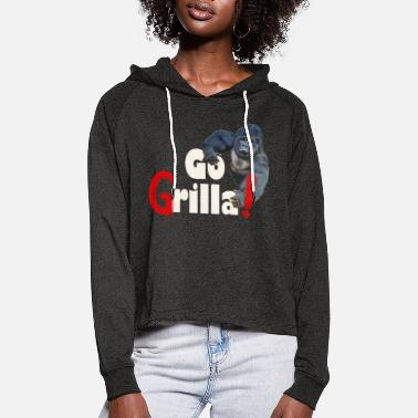 Funny Gorilla Go Grilla summer grill party feast - Women's Cropped Hoodie