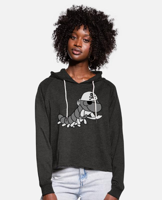 Small Hoodies & Sweatshirts - sailor cloth pirate pirate evil robber sea ship ha - Women's Cropped Hoodie charcoal grey