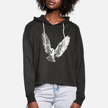 Barn flying owl, barn owl (for dark products) - Women's Cropped Hoodie