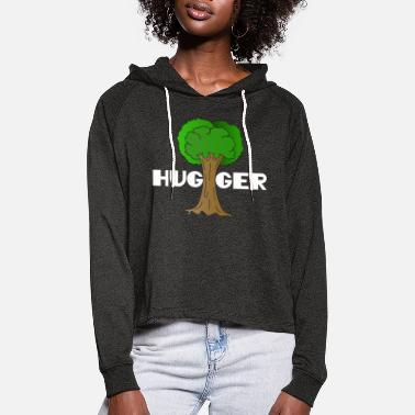 Ecofriendly Beautiful Nature Tree Tshirt Design Hugger Tree - Women's Cropped Hoodie