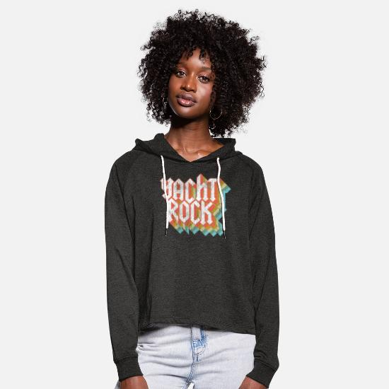 Sound Hoodies & Sweatshirts - Vintage Fade Yacht Rock Party Boat Drinking print - Women's Cropped Hoodie charcoal grey