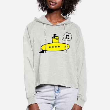 Singing Yellow Submarine - Women's Cropped Hoodie