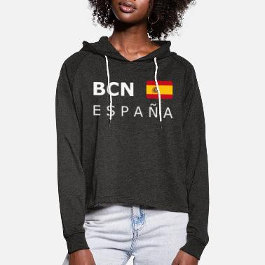BCN ESPAÑA white-lettered 400 dpi - Women's Cropped Hoodie