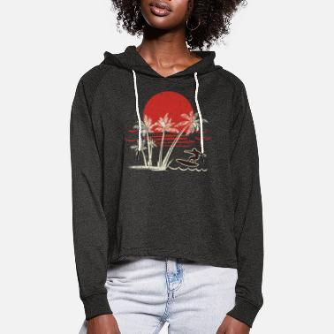Wave surfing gifts surfing accessories retro surf wave - Women's Cropped Hoodie