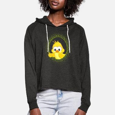 little yellow bird in the green frame - Women's Cropped Hoodie