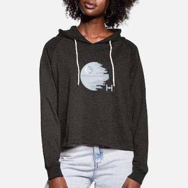 Illustration Death Star Simple Abstract Illustration - Women's Cropped Hoodie