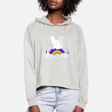 House Tiger Cats rainbow house tigers - Women's Cropped Hoodie