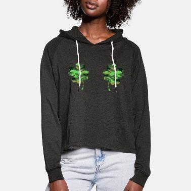 Funny Shamrock Boobs St Patricks Day - Frauen Cropped Hoodie