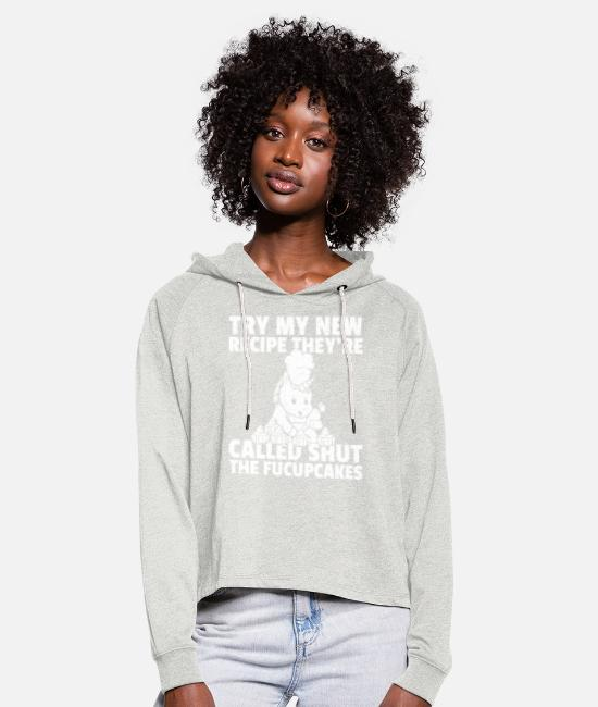 Cookie Hoodies & Sweatshirts - Unicorn baker cake pie bake retro - Women's Cropped Hoodie heather oatmeal