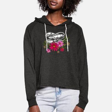 Cool Lobster With Flowers - Women's Cropped Hoodie