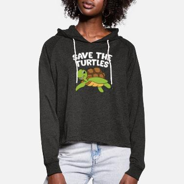 Save Sea Turtle Lover Gift Save The Turtles - Women's Cropped Hoodie