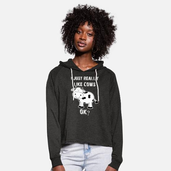 Cow Hoodies & Sweatshirts - Cow, cows, cow, Cow funny farmer - Women's Cropped Hoodie charcoal grey