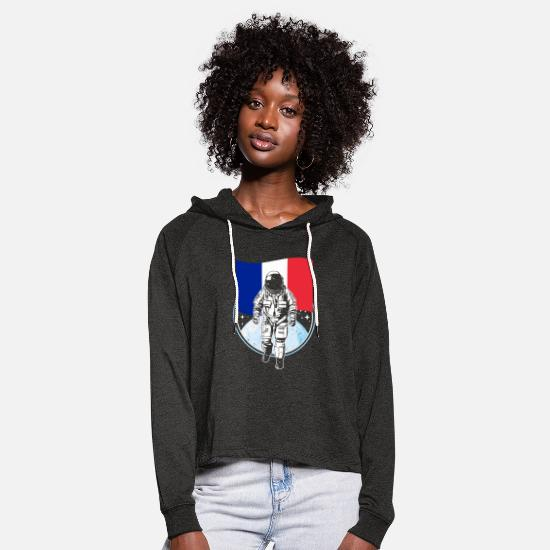 Astronaut Hoodies & Sweatshirts - France flag astronaut - Women's Cropped Hoodie charcoal grey