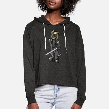 Graffiti Cartoon Sword Fighter - Frauen Cropped Hoodie