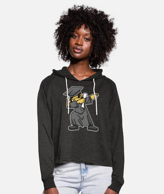 College Hoodies & Sweatshirts - Asian boy student dab dabbing graduation school - Women's Cropped Hoodie charcoal grey