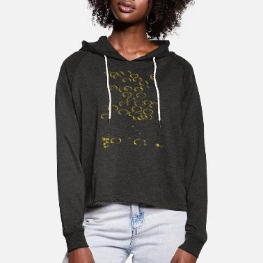 Summer Abstract circles / gold / line / trend - Women's Cropped Hoodie