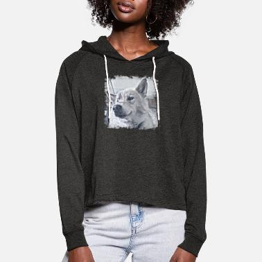 Husky Flash - Women's Cropped Hoodie