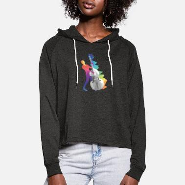 Violin Double bass gift - Women's Cropped Hoodie
