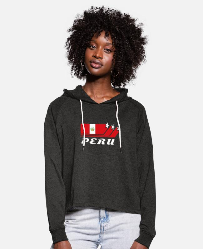 South America Hoodies & Sweatshirts - Peru Flag / Gift National color South America - Women's Cropped Hoodie charcoal grey