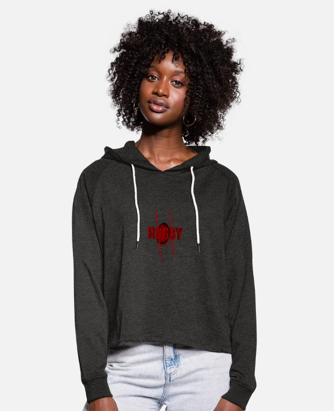 Rugby Hoodies & Sweatshirts - RED AND BLACK RUGBY - Women's Cropped Hoodie charcoal grey