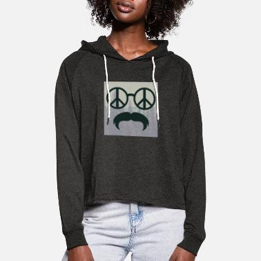 Glass Underwear great hipster beard beard glasses love peace hippie - Women's Cropped Hoodie